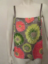 Work of Art Tuleh tank top blouse camisole $3450 multi colored beaded sz 6 BNWT