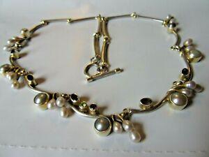 "VTG Sterling Silver & 14K, 30 grams 18.5"" Necklace w/ Pearls, Amethyst & Peridot"