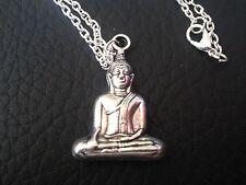 Buddha Kette Tibet silber  Glückskette großer Buddha Anhänger  Schutzanhänger