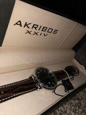 Akribos XXIV Black-tone Swiss Quartz Date Brown Leather Strap Mens Watch NIB
