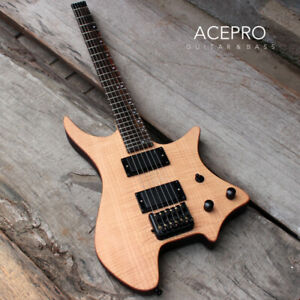 Grote Satin Natural Color Flame Maple Headless Electric Guitar Black Hardware