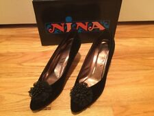 Nina Black Velvet Pumps with Beaded and Lace Toe 7.5