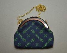 1970s Pucci Purse - Printed Logo Denim w/ Faux Tortoise Frame & Shoulder Chain