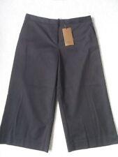 Cotton Blend Wide Leg High Capri, Cropped Trousers for Women