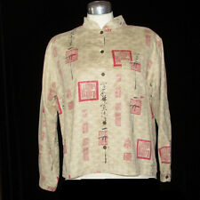 Chicos Design Shirt Blouse Top Jacket Chinese Dragon Size 2 Large 12
