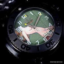 Invicta Transatlantic Limited 50mm Dual Movement WWII Pinup Girl Black Watch New