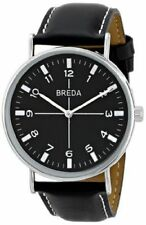 NWT Breda Men's 1646D Silver-Tone Black Band Watch