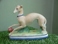 SUPERB 19thc STAFFORDSHIRE BISQUE WHIPPET DOG WITH BALL FIGURE  C.1870
