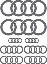 COMPLETE 8 PCE SET: AUDI RINGS STICKERS DECALS DOOR, MIRRORS, SCREEN, BOOT etc