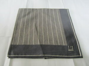 """USED DUNHIL GRAY STRIPED PATTERN COTTON 18""""POCKET SQUARE HANDKERCHIEF HANKY MEN"""