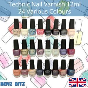 Technic Nail Polish Varnish 12ml Pastel Glitter Bright Colours Long Last Paint