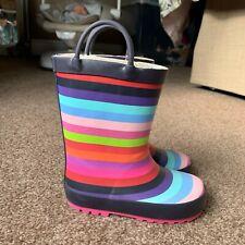 Girls NEXT Size 9 Rainbow Stripe Wellies Wellington Boots Winter Warm Snow