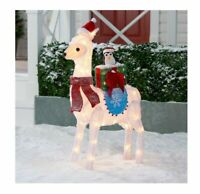 """3FT 9"""" CHRISTMAS TINSEL LLAMA WEARING SANTA CLAUS HAT LIGHTED YARD DECOR"""