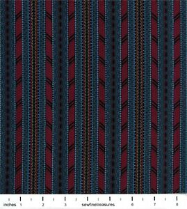 Plantation circa 1800's Lace Stripes Dark Blue Ro Gregg Vintage Fabric FQ 1/4 YD