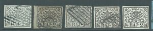 PAPAL STATES 1852 SG11/14 2b group 5 stamps - 4 good to fine used 1 mint no gum