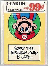 Nintendo Mario Bros Greeting Card 3 Pack #25 (Nexoft, 1989) Factory Sealed