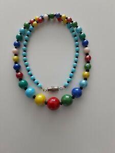 Vintage Art Deco Czech Harlequin Glass Bead Necklace.