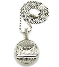 MENS ICED OUT HIP HOP SILVER LAST SUPPER PENDANT BOX CHAIN NECKLACE