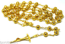New Cross Crucifix Pendant 18k Gold Filled 8mm Hollow Balls Rosary Necklace UK