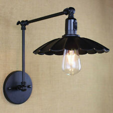 Industrial Black Swing Arm Wall Light Lamp with Switch Hard Wired Sconce Fixture