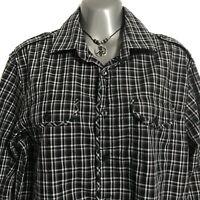 Michael Kors Men's Shirt Plaid Button Down Black Slim Fit Long Sleeve M