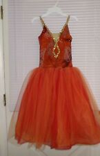 Algy Romantic Ballet Dress Performance Orange RED Gold Sequins Adult Small