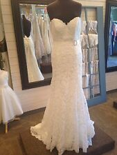 MAGGIE SOTTERO WEDDING DRESS #4MC844 IVORY LACE STRAPLESS SIZE 10