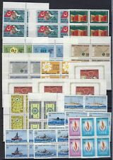 TURKEY 1950s 70s COLLECTION OF 400+ 100+ BLOCKS OF 4 W/AIR MAILS & HIGH CAT VALU
