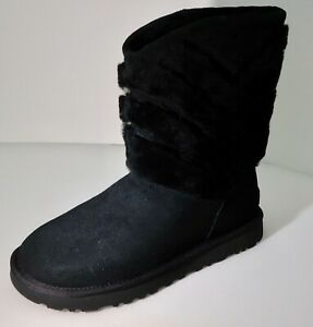 Women's UGG Tania Black Suede Sheepskin Boots Brand New with Box