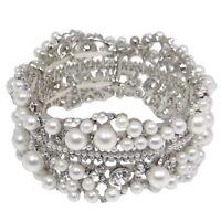 Bridal Wedding Luxury Adjustable Crystal Pearl Bracelet Jewellery With Box
