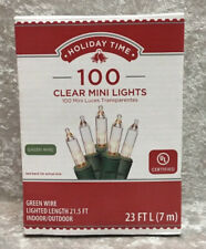 Holiday Time 100 Clear White Mini Lights Green Wire Christmas New In Box 23 Ft