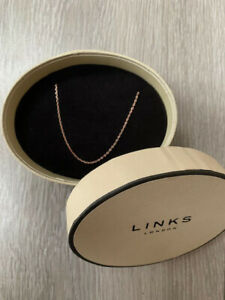 LINKS OF LONDON CHAIN 70CM 18CT ROSE GOLD VERMEIL DIAMOND CUT BOXED
