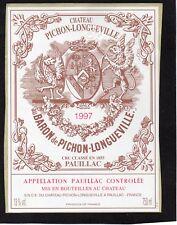 PAUILLAC 2EGCC ETIQUETTE CHATEAU PICHON LONGUEVILLE BARON 1997 §16/03/18§