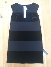 M&S Ladies Black Velvet Striped Tunic Stretch Dress @ Size 12 NEW LBD