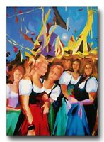 Bild Hand gemaltauf Leinwand80x60x2cm Oktoberfest Gemälde , Acryl