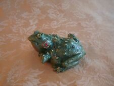 "Metal Frog Trinket Box Handmade Green with Rhinestones 4 1/8"" Long"