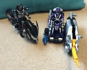 Jungle Fury Black Bat Strike Rider & Purple Wolf car vehicle with Power Rangers
