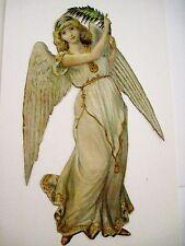 Vintage Victorian Antique Christmas Die-Cut Scrap Angel w/Fern *