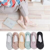 5 Pairs Ladies Lace Invisible Socks Footsie Liner Boat Socks Anti-slip Silicone