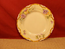 Hutschenreuther Porcelain Hand Painted Salad Dessert Plate Flowers Gold Trim