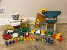 Vintage Fisher Price Little People Lift & Load Depot Airport Cars Huge Lot!!