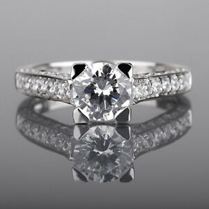 DIAMOND ROUND RING NATURAL 4 PRONGS 14K WHITE GOLD SI1 SIDE STONES 1.77 CT