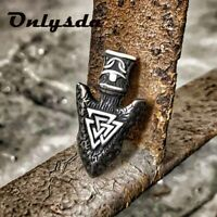 Stainless Steel Chain With Viking Rune Spear Amulet Triangle Pendant Necklace