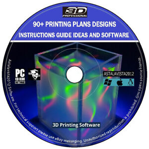 3D Printing Plans Designs Instructions Guide Ideas Professional Edition PC DVD +