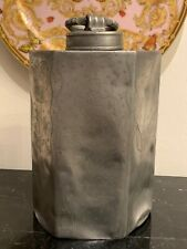 Rare and Exceptional Large Antique Hexagonal Screw Top Lidded Pewter Canister