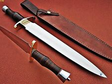 Custom Hand Made D2 Steel Hunting Dagger Knife (Leather Handle)