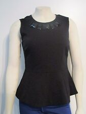 NWT Womens XS Vince Camuto Sleeveless Zippered Back Blouse Shirt Top - Black