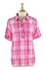Lands' End Women Tops Button Down Shirts XL Pink Cotton