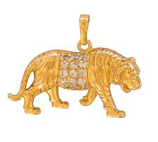 Gorgeous Gold Plated White Austrian Crystals Tiger Pendant With Gold Chain