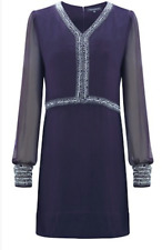 French Connection Silk Blue Bead Embellished Dress Size 4 Winter Bex Beads